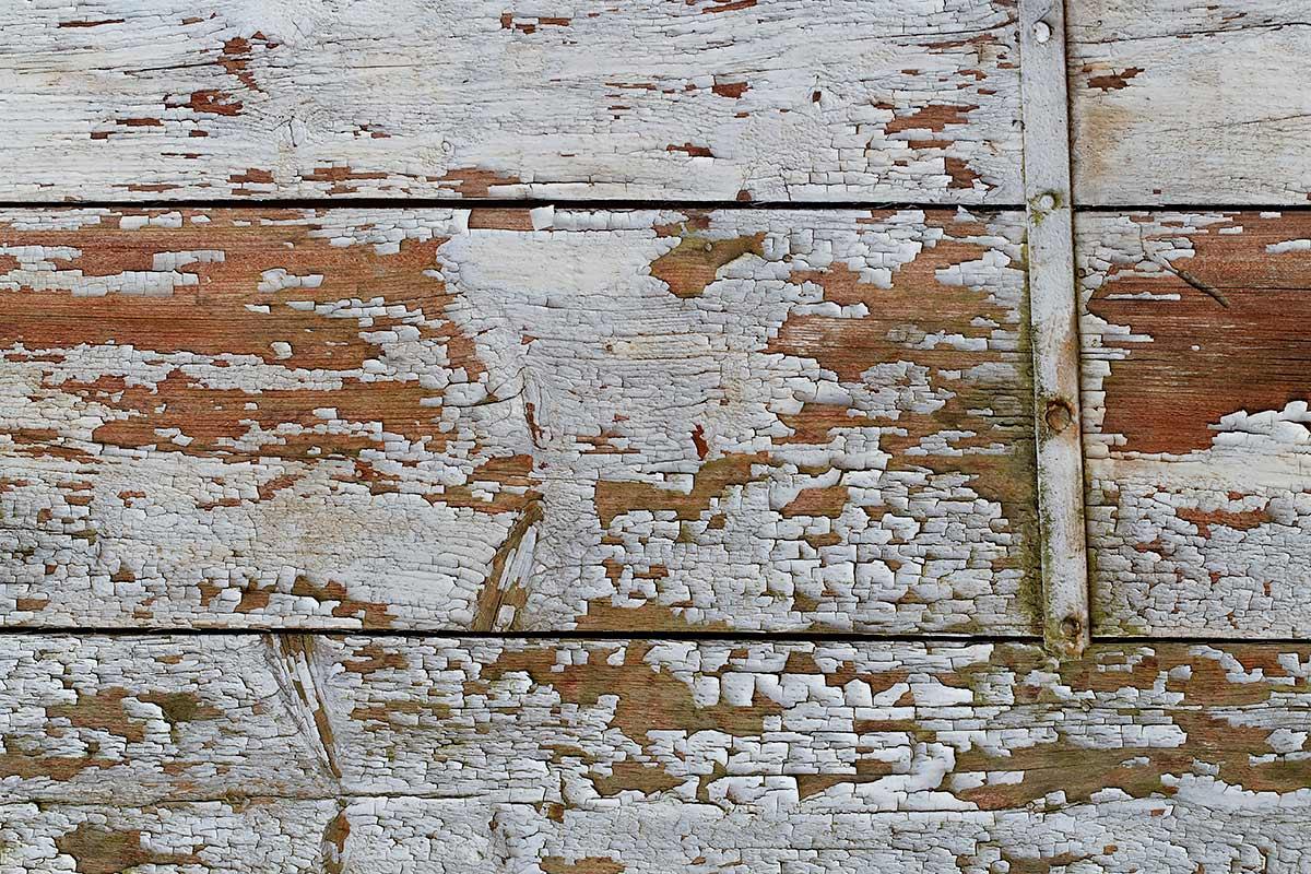 Detail eines verwitterten, ursprünglich weiß gestrichenen Holzverschlags